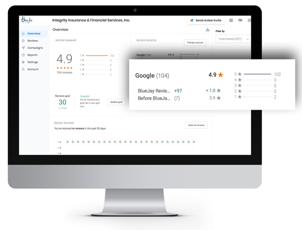BlueJay Reviews management platform