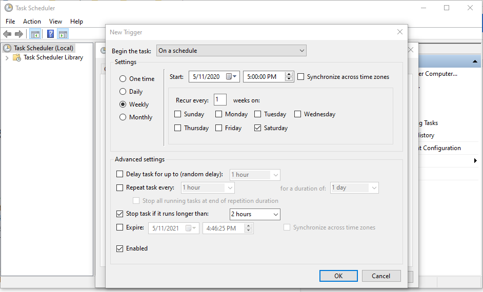 Set Freshen Indexes to start automatically with Windows Task Scheduler