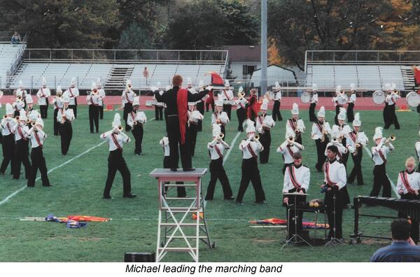 Michael leadign the marching band
