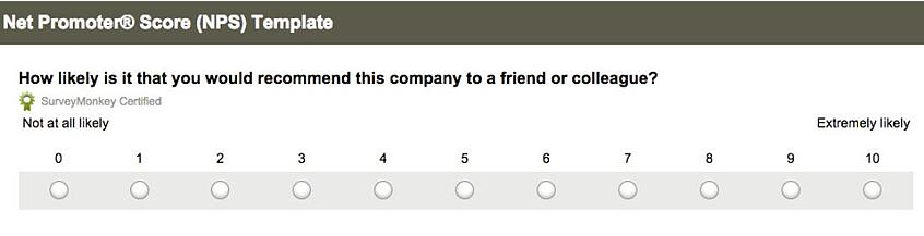 SurveyMonkey's example NPS survey question