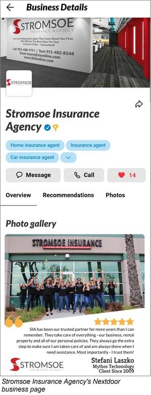 Nextdoor business page - Stromsoe Insurance