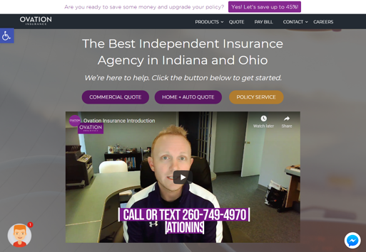Ovation Insurance website