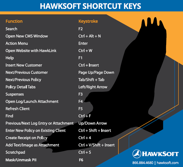 HawkSoft Shortcut Keys